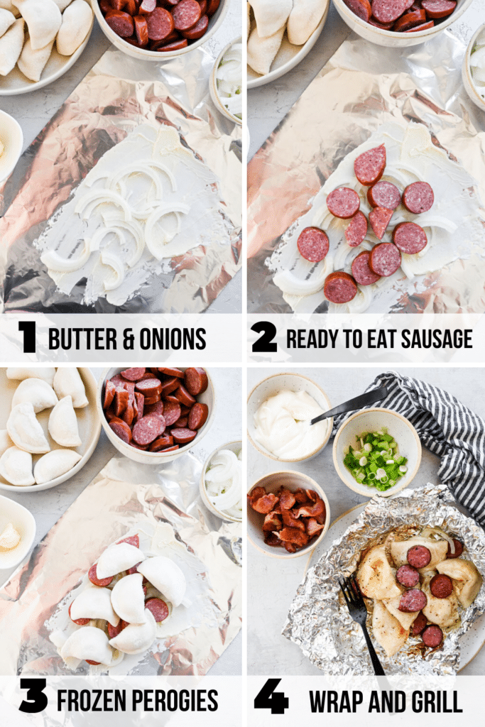 step by step how to make sausage perogy foil packets
