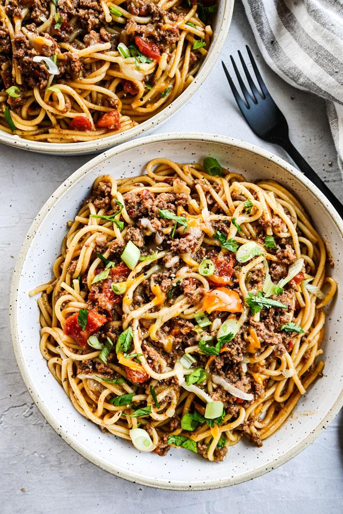 taco spaghetti plated neat