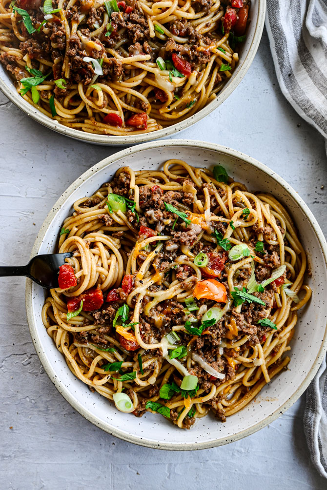 taco spaghetti with noodle twirl