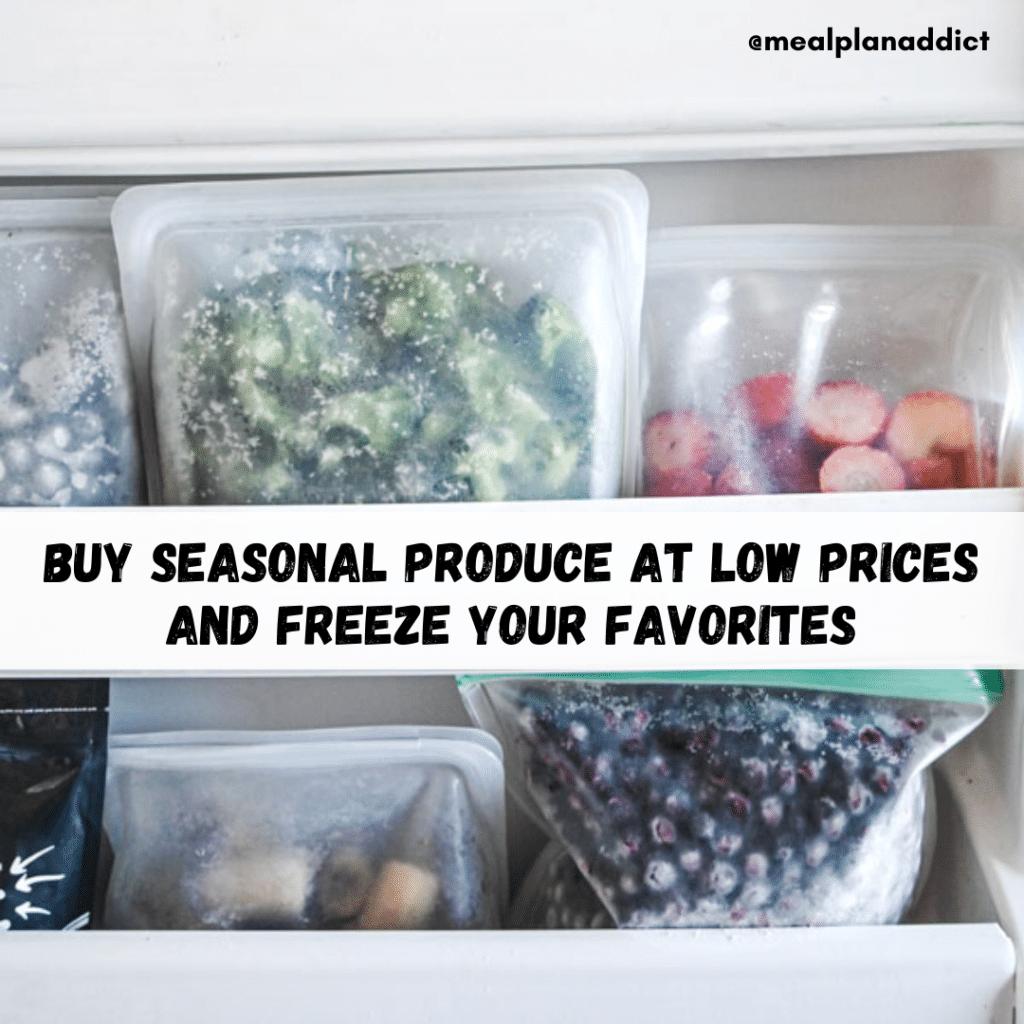 Blueberries, strawberries, and broccoli frozen in silicone bags in freezer door.