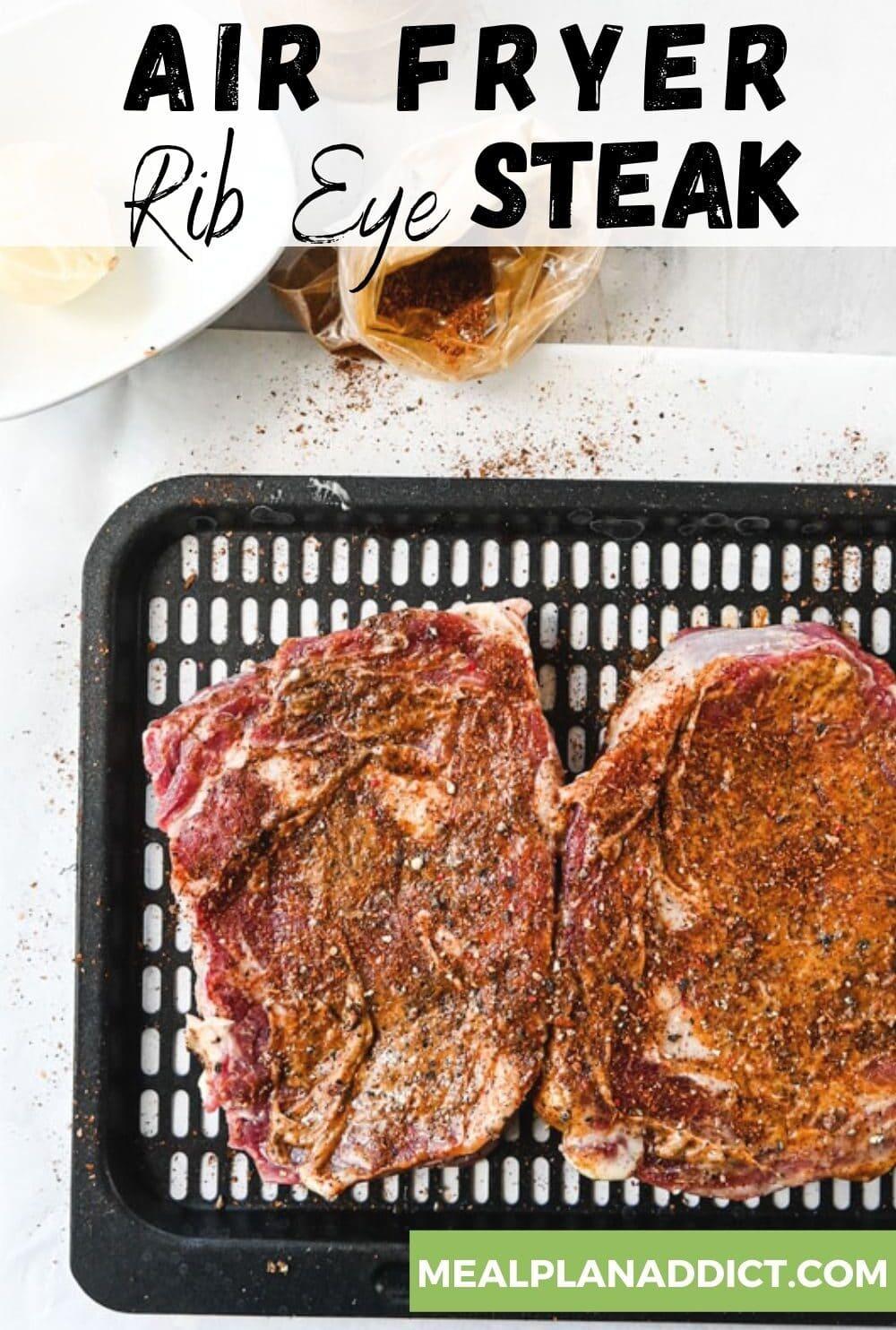 air fyer steak on tray
